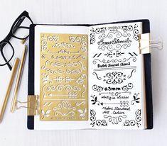 Gabarit de planificateur, Bullet Journal pochoir, pochoir de métal laiton, ornement de gabarit - s'adapte à journal A5 & Midori régulière