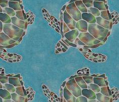 Sea Turtle Batik on Teal Ocean fabric by luv2silkpaint on Spoonflower - custom fabric