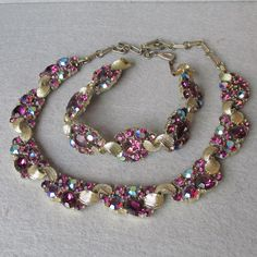 Gorgeous Lisner AB Amethyst Rhinestone Necklace & Bracelet Vintage Demi Parure
