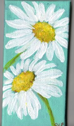 White Shasta Daisy Painting On Aqua Original On Canvas, Mini Easel, Acrylics…