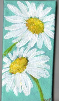 White Shasta Daisy Painting on Aqua Original on by SharonFosterArt, $18.00