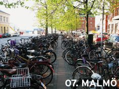 Like so many cities in Europe, the Central Train Station in Malmö, Sweden features massive amounts of bicycles. Bicycle Friendly Cities, 2nd City, Cities In Europe, Train Station, Denmark, Scandinavian, Street View, Bike, Park
