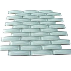 Shop 11 3/4 x11 3/4 Loft Crescent Seafoam Green Polished Glass Tile at TileBar.com.