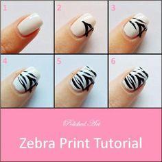 #NailArt #Tutorial Uñas Zebra Print