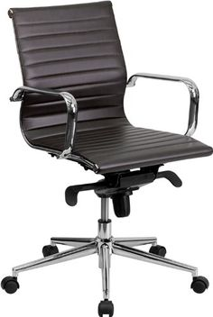Guest and Reception Chairs - Pin it :-) Follow us :-)) AzOfficechairs.com is your Officechair Gallery ;) CLICK IMAGE TWICE for Pricing and Info :) SEE A LARGER SELECTION of  guest and reception chairs  at  http://azofficechairs.com/category/office-chair-categories/guest-and-reception-chairs/ - office, office chair, home office chair , guest chair, lounge chair -   Flash Furniture Mid-Back Brown Ribbed Upholstered Leather Conference Chair « AZofficechairs.com