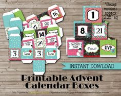 Printable ADVENT CALENDAR Boxes INSTANT Download