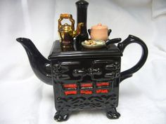 Black range cooker teapot. South West Ceramics.