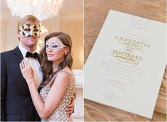 3 West Club Engagement Shoot on Style Me Pretty featuring pink, blue, and gold engraved invitations by Sincerely, Jackie