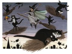 cats on broomsticks