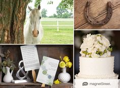 Kentucky Derby inspired wedding ideas featuring wedding programs, invitation suite and menu cards from MagnetStreet