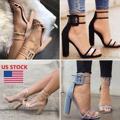 3776d67bf11 Women High Heel Strap Ankle Block Sandals Open Toe Party Dress Sandal Pumps  Shoe