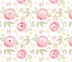 Watercolor Floral in Pink fabric by sugarfresh on Spoonflower - custom fabric