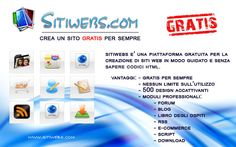 Sitiwebs è un'ottima piattaforma in italiano per creare siti web gratis di qualsiasi genere senza dover conoscere linguaggi di programmazione o aver bisogno di installare programmi di design.