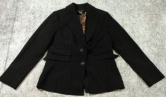 Etcetera Black Jacket Blazer Womens Size 8 with Leopard Animal Print Lining