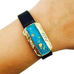 Charm to Accessorize the Vivofit, Vivosmart, Fitbit Flex, Xiaomi Mi and Jawbone Up - The JASMINE Gold Fleck Charm in Blue to Dress Up Your Favorite Fitness Tracker by Funktional Wearables