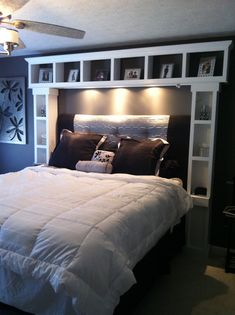 DIY bed :I want these shelves. its like our headboard times 10.