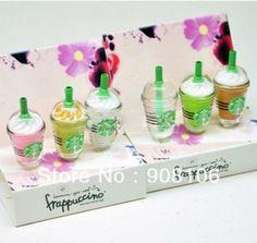 Ensemble de 6 pièces starbucks frappuccino, charme de téléphone portable 3.5mm lait anti poussière jack é...