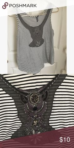 Anthropologie tank Embellished striped tank One September brand. Only light sign of wear, no holes or stains. Anthropologie Tops Tank Tops