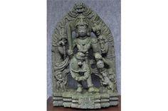 Lot 117 - A HOYSALA STELE DEPICTING KHANDOBA Karnataka, Deccan, Southern India, circa 13th century grey