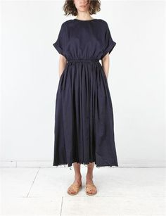 Black Crane Pleats Dress | Navy