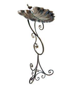 Look at this #zulilyfind! Ornate Leaf Metal Birdbath by World Source Partners #zulilyfinds
