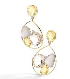 Earrings in 18k white and yellow gold with round diamonds, smokey quartz, morganite topaz and citrine.