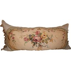 Stunning 19th C. Floral Aubusson Bed Pillow at 1stdibs ❤ liked on Polyvore