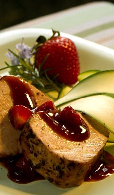 Pork Tenderloin with Sweet 'n' Sour Strawberry Sauce - A delicious summery twist on the traditional baked ham with pineapple.