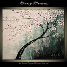 "Original Impasto Acrylic Modern Abstract Art  Painting on  Gallery wrapped Canvas 30"" x 24"", Home Decor, -Cherry Blossoms- on Etsy, $169.00"