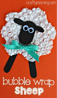 This Cute bubble Wrap Sheep is easy to make and requires very little in the line of materials. The kids can make a whole herd of sheep in a short time.