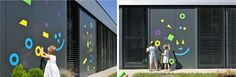 the architecture of early childhood: A kindergarten module of containers + cool magnetic interactive facades
