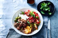 Demanding days and time-poor nights are driving the trend for dishes that deliver maximum nutrition for minimum efforts, says Charlotte Binns-McDonald, who& jammed big-hitting goodness and flavour into these kitchen heroes. Delicious Magazine Recipes, New Recipes, Healthy Recipes, Healthy Breakfasts, Favorite Recipes, Tomato Salad Recipes, Fast Dinners, Heirloom Tomatoes, Middle Eastern Recipes