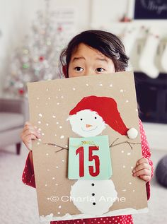 Copyright.charla.anne. Diy snowman Christmas countdown calendar for kids / craft! Easy! Cute.