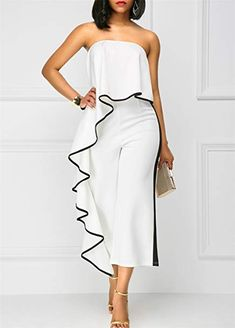 5088d38f186b White Strapless Ruffle Overlay Wide Leg Jumpsuit With Contrast Trim