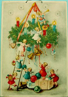 Antique Christmas Ornaments Paper and Spun Glass Advent Cards Adventskalender Adventkalender*