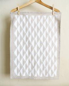 White Diamonds Tea Towel