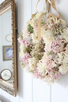 dried peony wreath if I preserved the blooms first it would be even prettier and longer lasting!