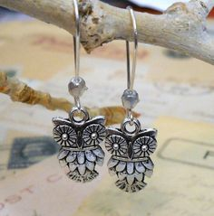 Little Hoot Owl Silver Earrings  gift for her by lucindascharms, $9.00
