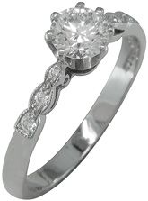 Vintage engagement ring setting with curved diamond accent shoulders.