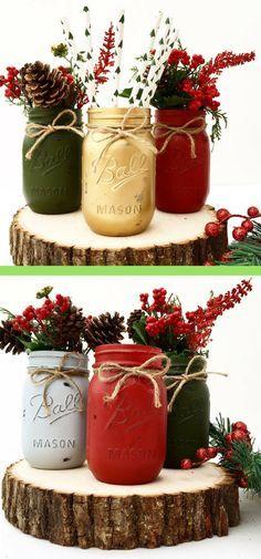 Christmas DIY: Choose 3 Hand Painte Choose 3 Hand Painted Mason Jars Christmas Home Decor Holiday Decor Centerpiece Winter Wedding Farmhouse Country Mantle Holiday #affiliatelink #Christmas #decor #home #christmasdiy #christmas #diy
