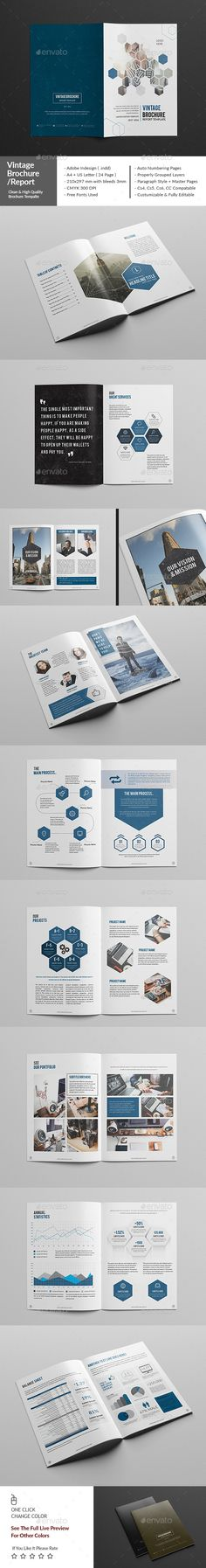 Vintage Corporate Brochure / Report Template InDesign INDD #design Download: http://graphicriver.net/item/vintage-corporate-brochurereport/14518138?ref=ksioks