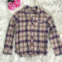 Plaid Flannel - Boyfriend Fit Beige, purple/blue, pink and brown plaid flannel originally purchased from Urban Outiftters. Size Large. Boyfriend fit. Feel free to ask questions!  Urban Outfitters Tops