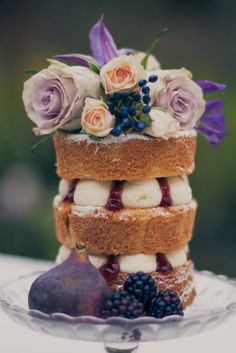 Simply Naked Cake with fresh flowers and fruit www.macakecompany.co.uk