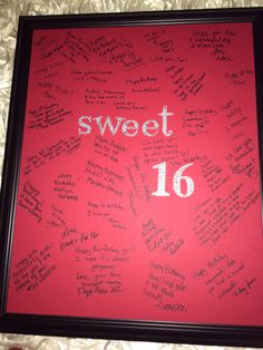 Sweet 16 Keepsake Autograph Photo Frame made for my Nieces Birthday Party, Great Keepsake. Which she loved !!