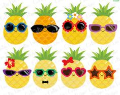 Pineapple Clip Art Pictures Pineapples in Sunglasses Summer