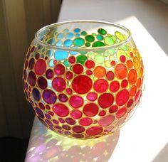 Rainbow Bubbles Hand Painted Vase Glass Sphere Vase by ArtMasha