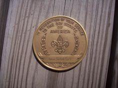 Boy Scouts  Union Carbide  Brass Piece by aPrairiePeddler on Etsy, $20.00