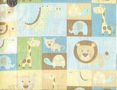 Cotton Quilt Fabric Jungle Patch Baby Animal Lion Tiger Elephant 1/2 Yard - product image