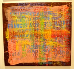 """""""'Judy Garland and her Friends' by Scott Covert, 2011-2012. Oil and wax crayons, acrylic on muslin, 19 x 20 inches. Exhibited with Edelman Arts & Art Assure (New York, NY). Covert's art begins as grave rubbings on linen capturing people he admires, according to the gallery. The result is art that combines Pop and Abstraction with hints of conceptual and narrative components."""" Via http://hamptonsarthub.com"""