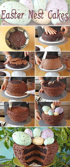 This Easter Nest Cake is a rich devil's food cake decorated to look like a bird's nest, filled with speckled eggs for Easter. Easter Recipes, Dessert Recipes, Easter Desserts, Baking Desserts, Cupcake Recipes, Cookie Recipes, Decoration Patisserie, Easter Cupcakes, Easter Cake Nest